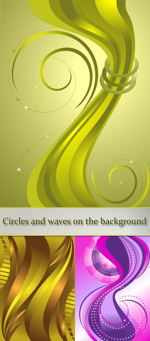 Stock: Bands of circles and waves on the background