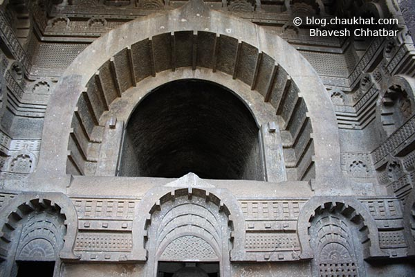 Opening for entrance of light to reach inside the Chaitya [main hall] of Bedse Caves