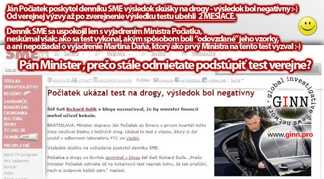 Dennik SME prinisel vysledky skusky Jana Pociatka na drogy