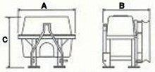 Σχεδιάγραμμα διαστάσεων ψεκαστικού (νεφελοψεκαστήρα) αναρτώμενου Darin τύπου Lia