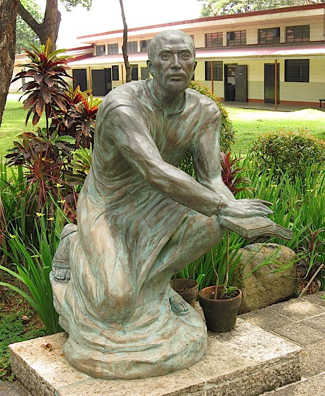 Julie Lluch's sculpture of St. Ignatius of Loyola at the Ateneo de Manila High School