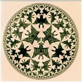 Вы можете видеть в изображении (на картине Маурица Эшера) ангелов или чертей и это Ваше сугубо личное дело....