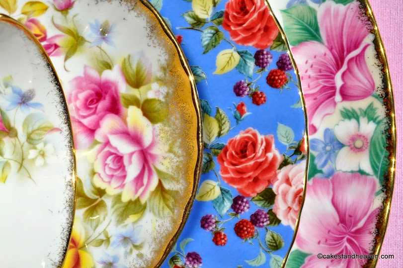 Eclectic pink, blue, red and gold floral patterns