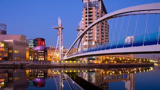 Pedestrian Suspension Bridge, Salford Quays, Salford, Manchester, England.jpg