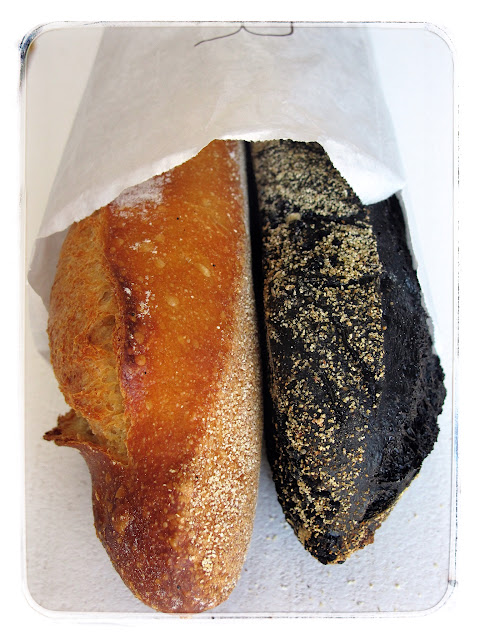 Gontron Cherrier, squid ink baguette, normal baguette. Paris pic:kerstin rodgers