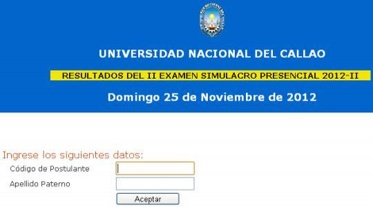 Resultados examen Simulacro UNAC 25 Nov Puntajes