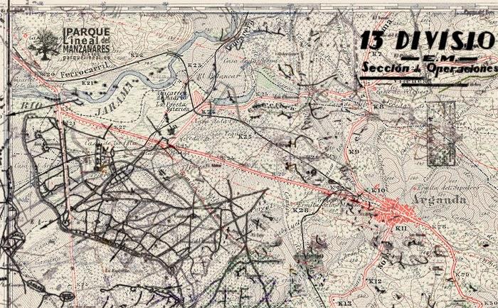 mapa tren de arganda y trincheras de la guerra civil