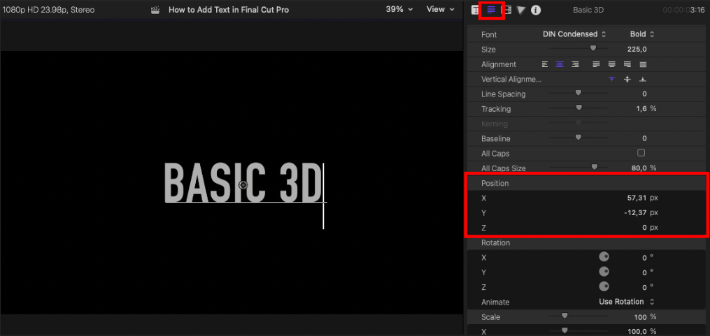 screenshot of FCP UI showing how to change the text position