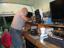 Terry W8ZN works on microwave station (Mark K4SO observes)