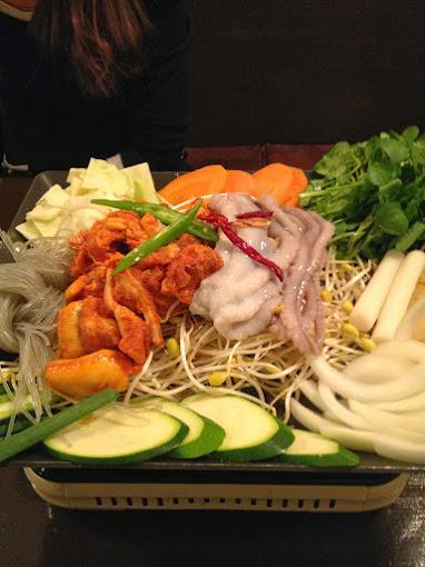 Raw Pig and Octopus at Moo Kyo Dong Nak Ji