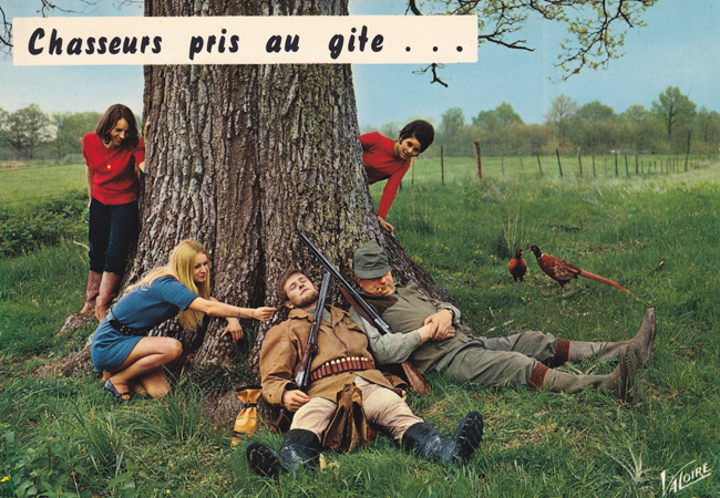 Cartes Postales Pop et Kitsch des années 50, 70 et 70 - Pop and kitsch vintage postcards from the fifties, the sixties and the seventies : Chasseurs pris au gite...