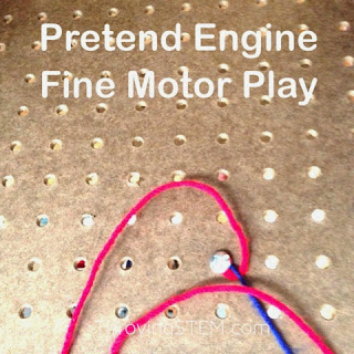 Kids who love planes, trucks, cars, and planes will enjoy this fine motor play.