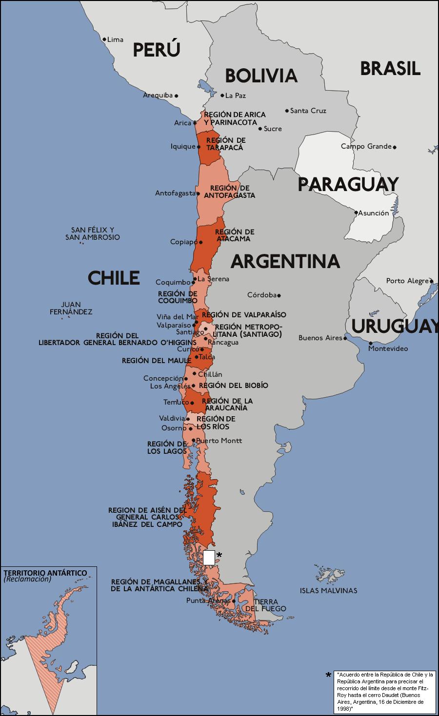 Mapa chile regiones for Calles de santiago de chile