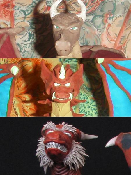 Primeros dragones en plastilina y epoxica