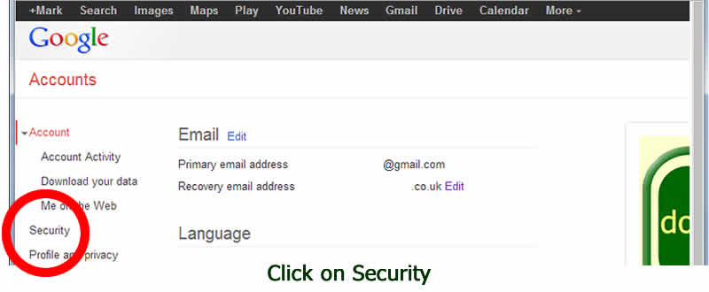Security setting your gmail account - with www.dorsetdog.com