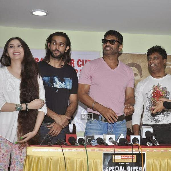 Sasha Agha, Akhil Kapur, Suniel Shetty and Anand Kumar during the promotion of upcoming movie Desi Kattey, in Mumbai, on July 14, 2014. (Pic: Viral Bhayani)