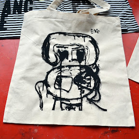 Waterbased black on Liberty Bags tote, for Eddie in Pencil Factory