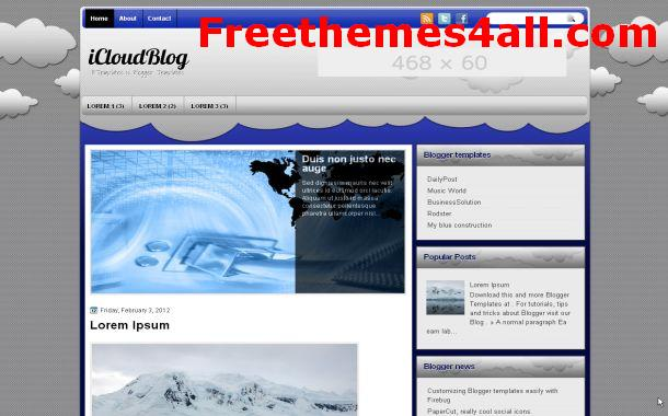 Free Blogger Clouds Grey Theme Template