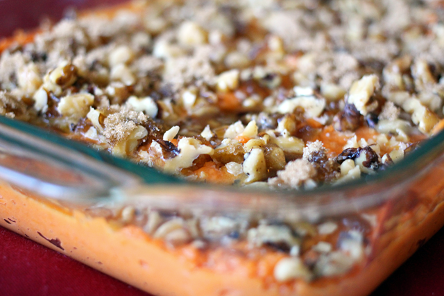 Sweet Potato Casserole with Walnut Crumble from dontmissdairy.com
