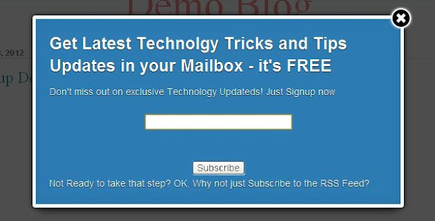 jQuery Email Subscription Pop Up Demo