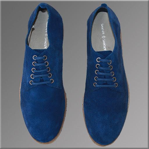 Pantofi SamSoe, Model Japan, Piele Intoarsa, pe Albastru