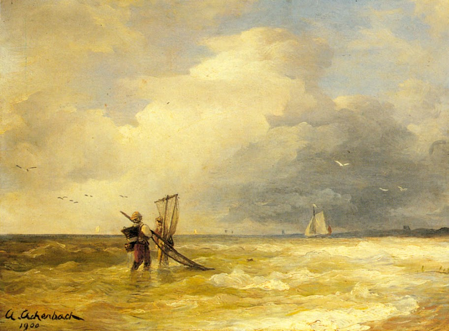 Andreas Achenbach - Fishing Along the Shore