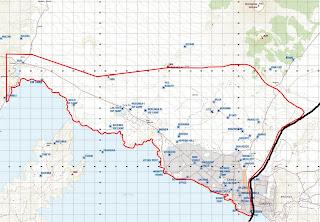 Carte de la zone de sécurité sur l'axe Goma-Sake