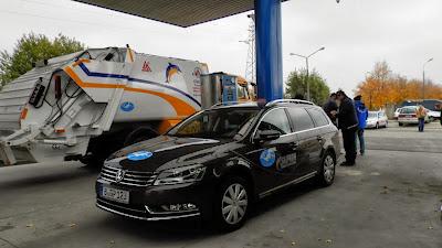Samochód zasilany gazem ziemnym, należący do Gazprom Germania