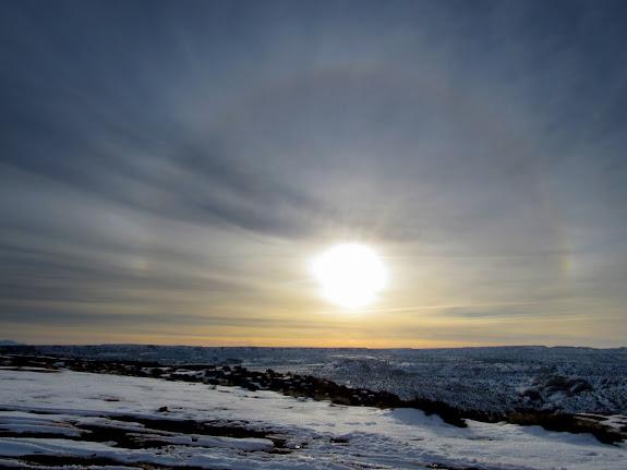 Sun halo at the Horseshoe Canyon trailhead