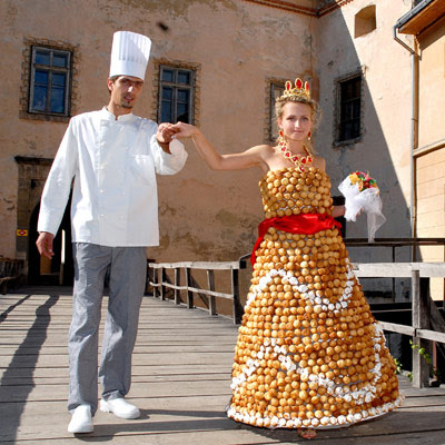 Cream Puff Wedding Dress - AP Photo via Delish.com