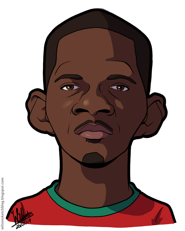 Cartoon caricature of William Carvalho.