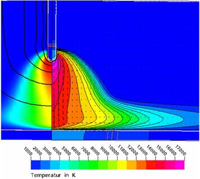 Распределение температуры с моделирования области объемного заряда electromagnetics@cfx. Моделирование процессов дуговой сварки