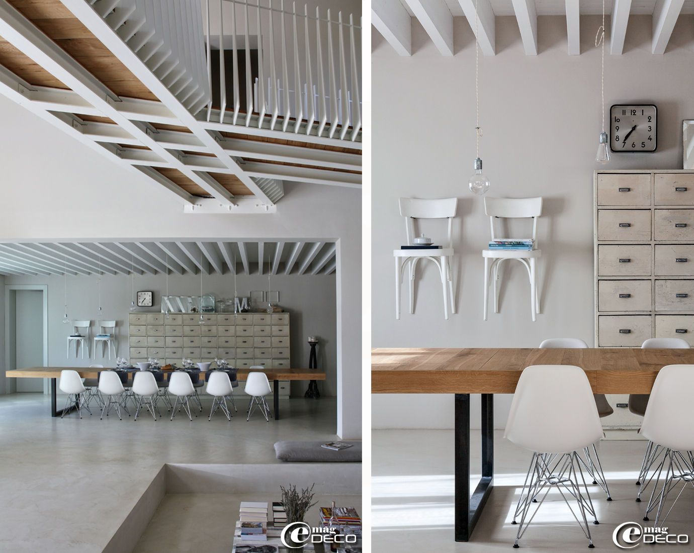 Sol en microbéton de chez 'Edfan', deux chaises de bistrot peintes en blanc accrochées au mur dans la maison d'hôtes 'Malatesta' près de Pergola en Italie