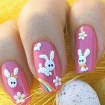 Unhas decoradas com coelhinhos para a páscoa