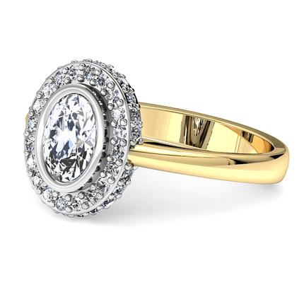 Anillo de compromiso de diamante circular