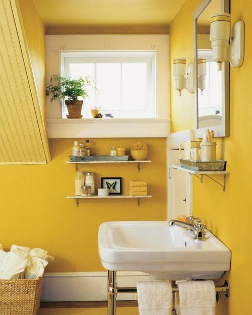Marble Saddle For Bathroom: Цвет в интерьере. Желтый и оранжевый.