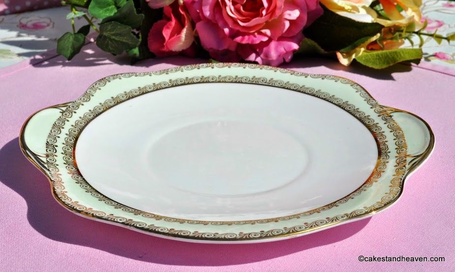 Stanley China green and gold vintage cake plate