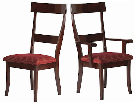 Tonkin Dining Chair in Rich Cherry, Fabric Seat