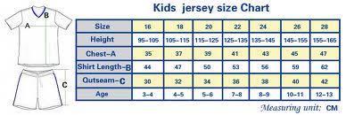 Ukuran Jersey Kids - Jersey Bola Anak - Jersey Bola Grade Ori