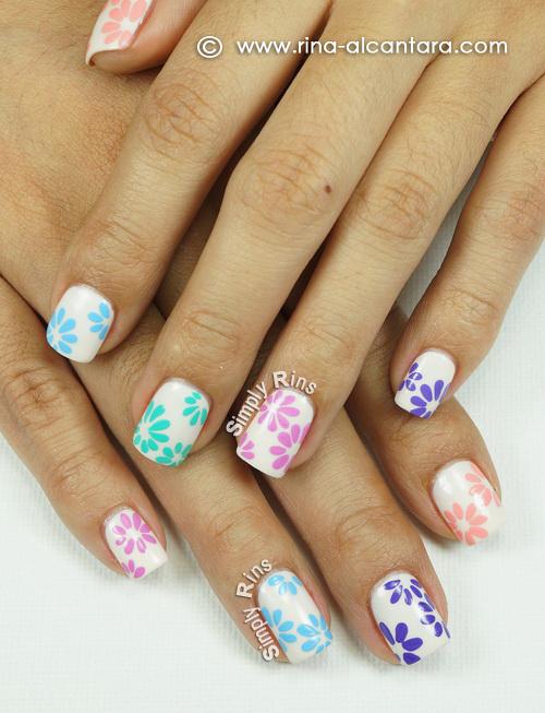 Floral Pastel Nail Art Design