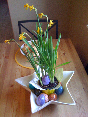 Dinosaur eggs and flowers