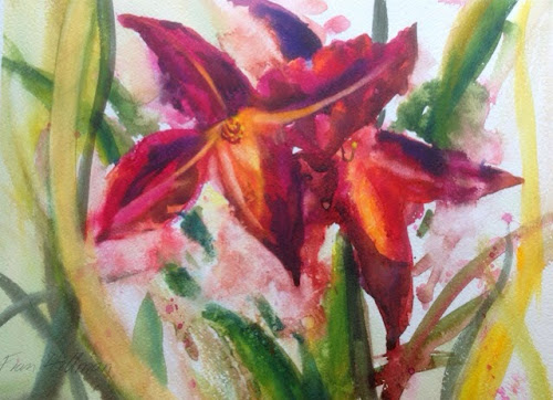Day lily painting watercolour