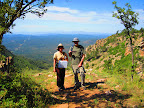 Hiking along the Mogollon Rim on Section 25 of the Paseo del Lobo (Photo by J. Davis)