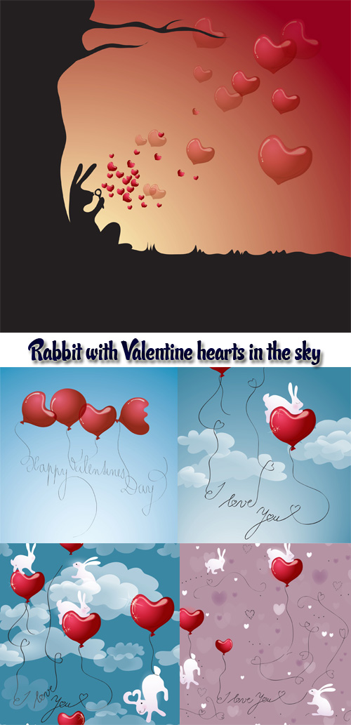 Vector - Rabbit with Valentine hearts in the sky