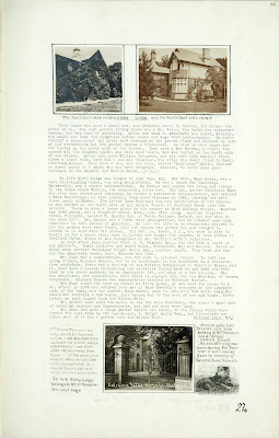 A Record of Shelford Parva by Fanny Wale P24 fo. 25, page 24: Two photographs of south-east side of Kirby Lodge in 1874 and 1915 are at the top of the page. A description of Kirby Lodge is underneath them, written in 1914. At the bottom of the page is a photograph of the entrance gates at Kirby Lodge. On the right hand side is a watercolour of a dog born in the Boer War, and named Bobs in memory of General Lord Roberts, owned by Mrs. H. Thompson who owned the Lodge. [fo.22, but within mount C]