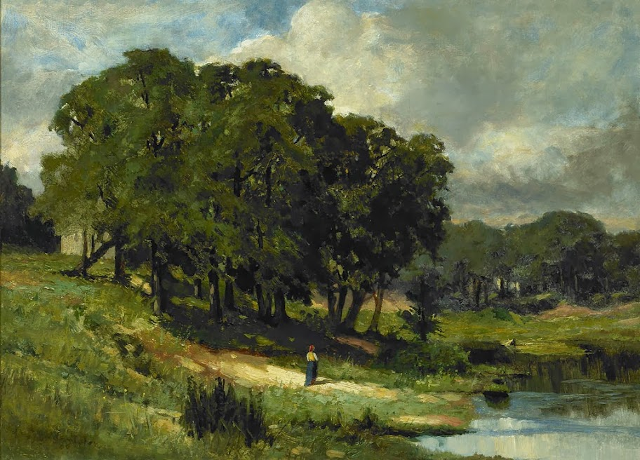 Edward Mitchell Bannister - Woman Standing Near a Pond