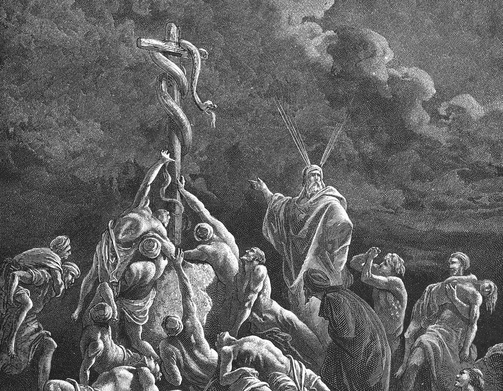 'As Moses lifted up the serpent in the wilderness, even so must the Son of man be lifted up' (John 3:14), by Gustave Doré (1832-1883)