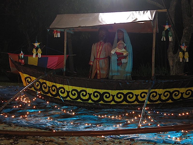 Nativity scene on a bangka, an outrigger canoe