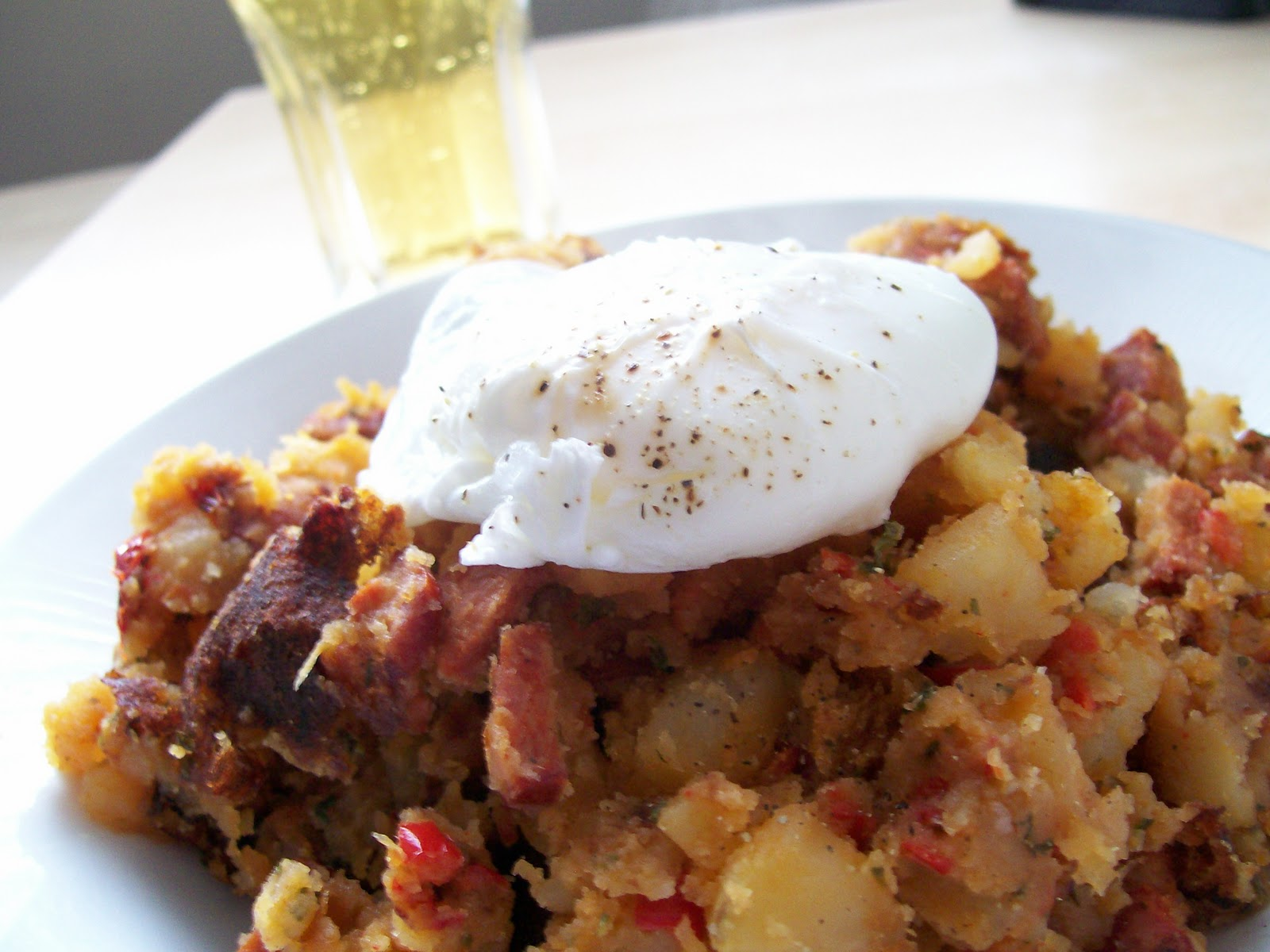 Andouille Sausage Hash With Poached Eggs Recipe — Dishmaps