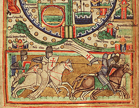 Крестоносцы. Фрагмент средневековой карты Иерусалима
